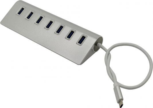 Концентратор USB 3.0 VCOM Telecom DH317 7 x USB 3.0 серебристый кабель концентратор usb 3 1 type cm 7 port usb3 0 hub 5gbps vcom dh317