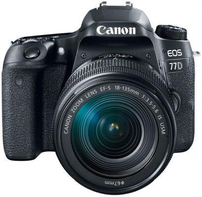 Зеркальная фотокамера Canon EOS 77D KIT 24.2Mpix EF-S 18-135mm f/3.5-5.6 черный 1892C004 canon eos 50d kit ef s 18 200