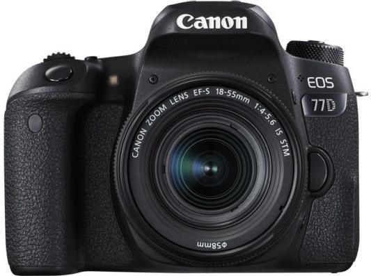 Зеркальная фотокамера Canon EOS 77D KIT 24.2Mpix EF-S 18-55mm f/3.5-5.6 черный 1892C017 зеркальная фотокамера canon eos 7d mark ii body wi fi адаптер черный 9128b128