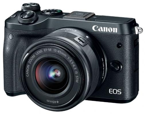 "Фотоаппарат Canon EOS M6 24Mpix 3"" 1080p WiFi 15-45 IS STM f/ 3.5-6.3 LP-E17 черный 1724C012"