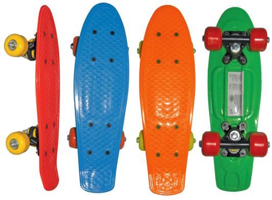Скейт Navigator пласт.,кол.ПВХ 42х38мм без света, втулки ПВХ, пласт.траки, 42х12х8см, 4 цв. в ассорт син,зел.,красн, оранж