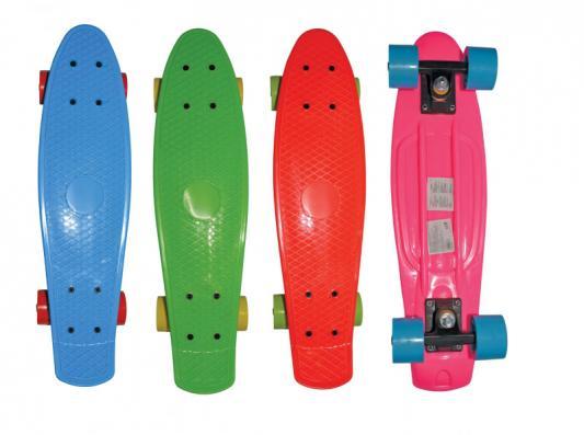 Скейт Navigator пласт.,кол.ПВХ 57х42мм без света, втулки ПВХ, пласт.траки, 56х15х9,5см, 4 цв. в ассорт красн.,син,роз,зелен.