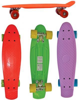 Скейт Navigator пласт.,кол.ПВХ 57х44мм без света, втулки ПВХ, алюм.траки,56х14,5х9,5см,4 цв.в ассорт. оранж, фиолет.,красн.,зел.