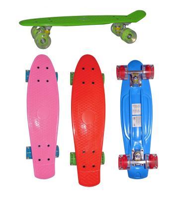 Скейт Navigator пласт.,кол.PU 57х44мм со светом, втулки ПВХ, алюм.траки,56х14,5х9,5см 4цв. в ассорт,красн,син,роз,зелен