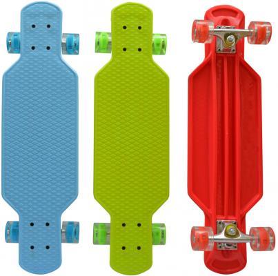 Скейт Navigator пласт.,кол.PU 57х44мм свет, втулки PU, алюм.траки,73х20х9,5см, красн,син,зел.