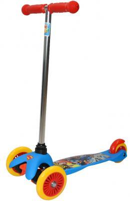 Купить Самокат трехколёсный 1TOY Супермэн (WB) упр.наклоном, PVC кол.пер.2х125мм/зад.100мм, разноцветный, Трехколесные самокаты для детей