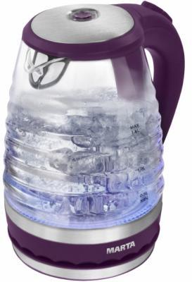 Чайник Marta MT-1085 2200 Вт фиолетовый чароит 1.8 л пластик/стекло набор столовых приборов marta mt 2701 twinkle