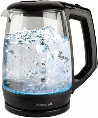 Чайник Maxwell MW-1076 TR 2200 Вт чёрный 1.7 л стекло чайник vitek vt 7008 tr 2200 вт чёрный 1 7 л пластик стекло