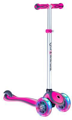 Самокат трехколёсный Y-SCOO GLOBBER PRIMO PLUS с 3 светящимися колесами Pink 442-110