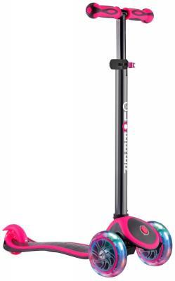 Самокат трехколёсный Y-SCOO GLOBBER PRIMO PLUS TITANIUM с 3 светящимися колесами Neon Pink 442-132 самокат 3 х колесный globber globber трехколесный самокат со светящимися колесами primo plus titanium neon bue