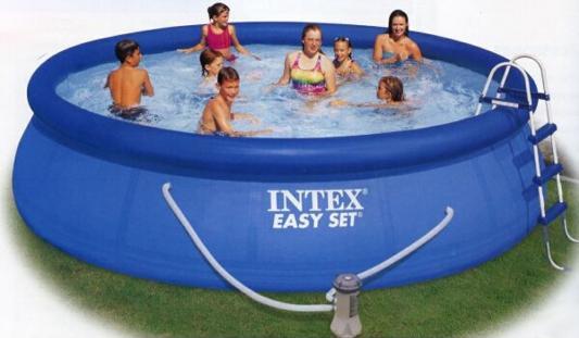 Надувной бассейн Intex изи сет 457х91см наб.(видео,насос-фильтр,лест.,настил,тент,наб. д/чистки) 220в.