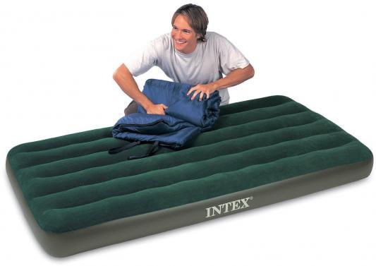 Надувной матрас INTEX Downy с66927 надувной матрас intex 66950 downy bed 76х191х22см со встроенным ножным насосом