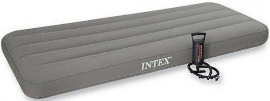 Надувной матрас-кровать INTEX с ручным насосом кровать intex с подголовником 152х203х42см со встроенным насосом 220в 66702