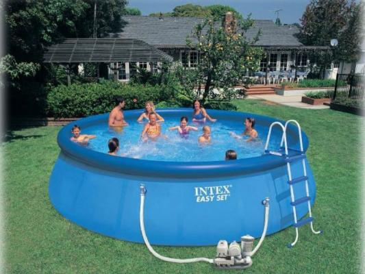 Надувной бассейн INTEX Easy Set тент на бассейн intex семейный 58412
