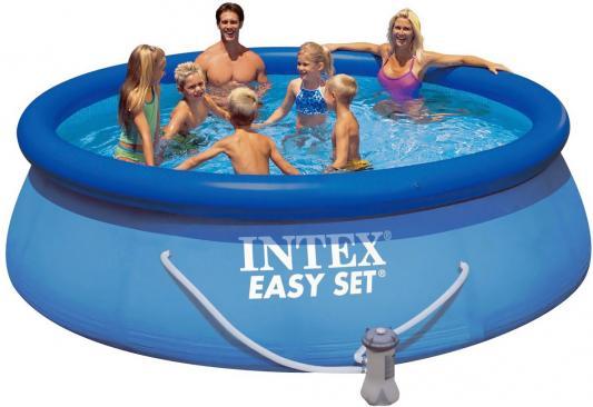 Надувной бассейн INTEX Easy Set, 457х107см.(видео,насос-фильтр,лест.,настил,тент,наб. д/чистки) 220в.