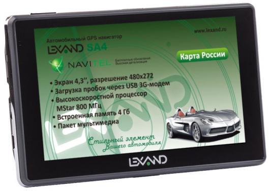 Навигатор LEXAND SA4 4.3 480x272 microSD USB FM-трансмиттер серый Navitel навигатор lexand sa5 hd navitel