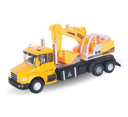 Экскаватор Autotime Excavator Truck 1:48 желтый 34126 autotime набор машинок recovery truck long эвакуатор с прицепом