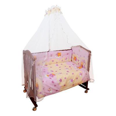Бампер в кроватку Сонный Гномик Мишкин сон (розовый)