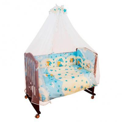 Бампер в кроватку Сонный Гномик Мишкин сон (голубой)