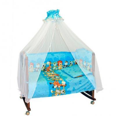 Бампер в кроватку Сонный Гномик Африка (голубой)