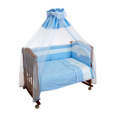 Бампер в кроватку Сонный Гномик Пушистик (голубой)