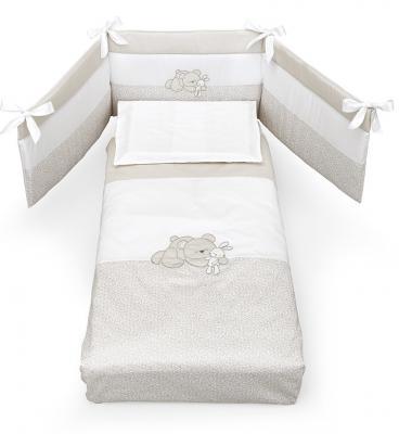 Комплект постельного белья 3 предмета Erbesi Birba (белый/песочный) cloud factory комплект постельного белья 3 предмета рыбы