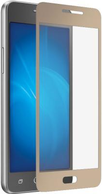Защитное стекло DF sColor-11 для Samsung Galaxy J2 Prime/Grand Prime 2016 с рамкой золотистый