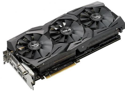 Видеокарта 11264Mb ASUS GeForce GTX1080 TI PCI-E 352bit GDDR5X DVI HDMI DP HDCP ROG-STRIX-GTX1080TI-O11G-GAMING Retail видеокарта 2048mb asus geforce gt730 с cuda pci e 64bit gddr5 dvi hdcp hdmi gt730 sl 2gd5 brk retail