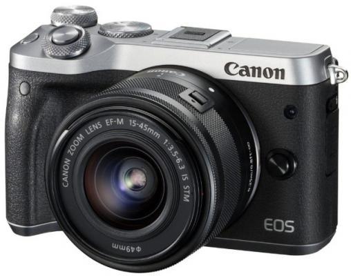 "Фотоаппарат Canon EOS M6 24Mpix 3"" 1080p 180p WiFi 15-45 IS STM f/ 3.5-6.3 LP-E17 черный/серебристый 1725C012"