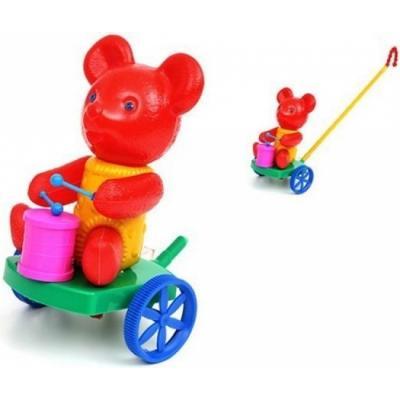 Каталка на палочке Suchanek Мишка с барабаном пластик от 1 года на колесах разноцветный SHNK-04 каталка стеллар гусеница с шариками пластик от 1 года на колесах разноцветный 01391 cteллap