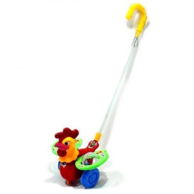 Каталка на палочке Shantou Gepai Петушок-погремушка пластик от 3 лет на колесах разноцветный  86032