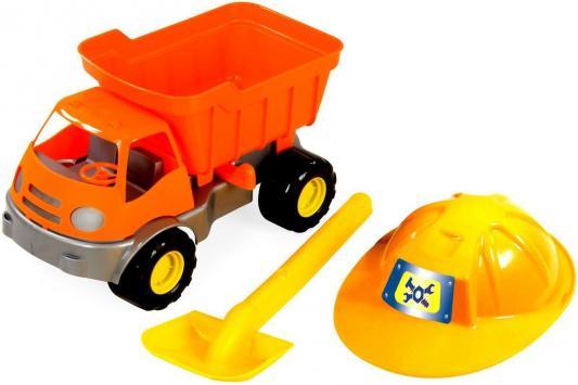 Песочный набор ZebraToys Самосвал c каской и лопатой 3 предмета