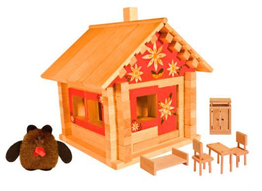 Деревянный конструктор Пелси Избушка теремок с куклами, мебелью и росписью 94 элемента К582 кмр