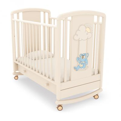 Кроватка-качалка Angela Bella Жаклин 4929 (декор мишка на качелях голубой/слоновая кость)