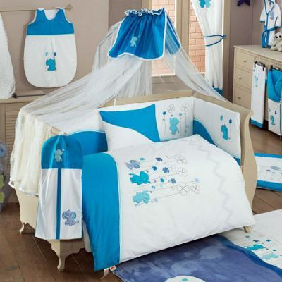где купить Постельный сет 6 предметов KidBoo Elephant (blue) по лучшей цене