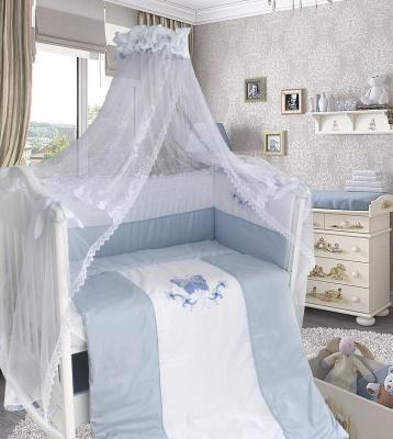 Постельный сет 7 предметов Bombus Абель (сатин/голубой) постельный сет 7 предметов bombus кроха голубой