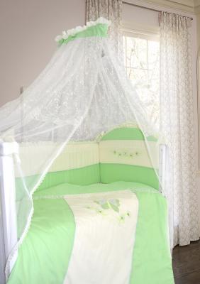 Постельный сет 7 предметов Bombus Абель (сатин/зеленый) карман на кроватку bombus светик розовый