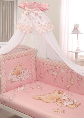 Постельный сет 7 предметов Золотой Гусь Mika (сатин/розовый) комплект в кроватку золотой гусь mika сатин 7 пр розовый