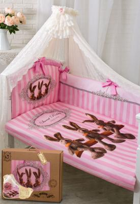 Постельный сет 7 предметов Золотой Гусь Sweet Rabbit (розовый) постельный сет 7 предметов золотой гусь мишутка розовый