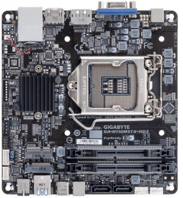 Мат. плата для ПК GigaByte GA-H110MSTX-HD3 Socket 1151 H110 2xDDR4 2 Mini-STX Retail материнская плата пк gigabyte ga h270 hd3 ga h270 hd3