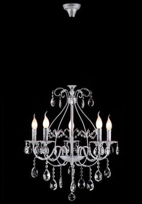 Подвесная люстра Eurosvet Кристиана 10050/5 белый с серебром/прозрачный хрусталь Strotskis