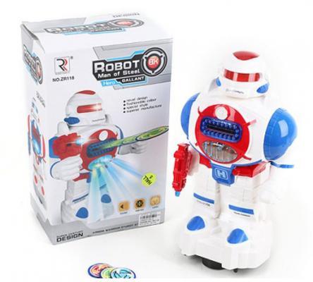 Робот электронный Shantou Gepai свет, звук, стреляет дисками ZR118 музыкальные игрушки shantou gepai электронный барабан лягушонок свет звук