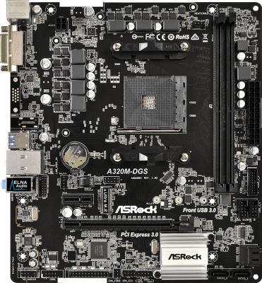 Мат. плата для ПК ASRock A320M-DGS Socket AM4 AMD A320 2xDDR4 1xPCI-E 16x 1xPCI-E 1x 4xSATAIII mATX Retail куплю материнскую плату socket 775 p43