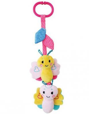 Развивающая игрушка Жирафики Подвеска с вибрацией, пищалкой и шуршалкой Бабочка, розовая 939481 жирафики с вибрацией песик том на крабике