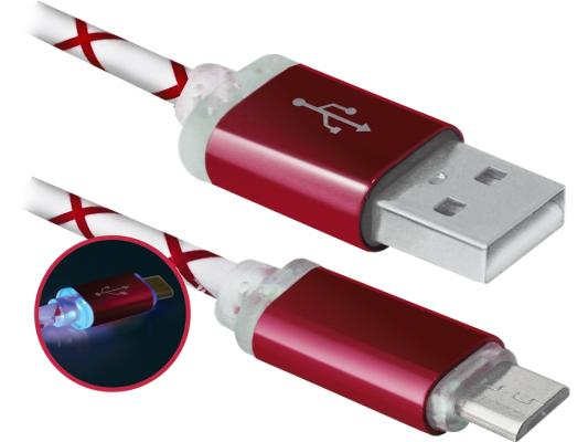 Кабель USB 2.0 AM-microBM 1.0м Defender USB08-03LT красный 87556