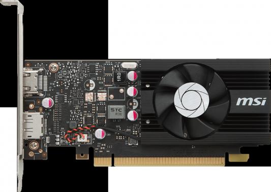 Видеокарта 2048Mb MSI GeForce GT1030 PCI-E GDDR5 64bit HDMI DP HDCP GT 1030 2G LP OC Retail innovision gt1030 black gold extreme edition 1227 1468 6000mhz 2gb 64bit gddr5 pci e карты