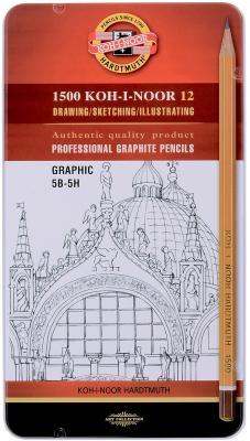 Карандаш графитовый Koh-i-Noor 1502 Graphic 12 шт 177 мм 1502012009PLRU