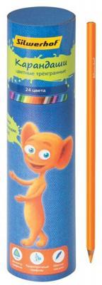 Набор цветных карандашей Silwerhof Джинсовая коллекция 24 шт тубус, 134200-24 набор цветных карандашей silwerhof 134206 24 народная коллекция 24 шт