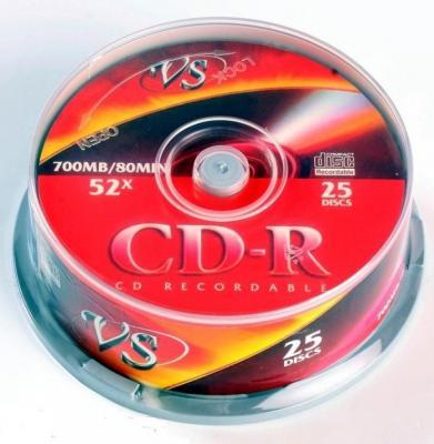 Диски CD-R VS 80 52x CB/25 Ink Print VSCDRIPCB2501