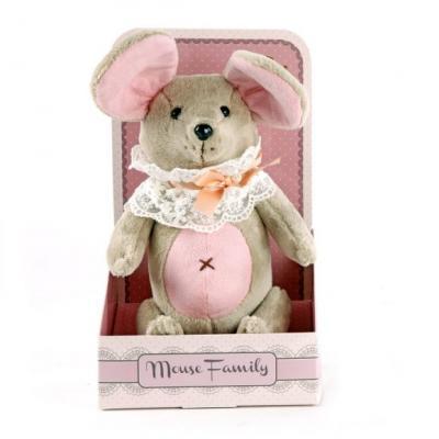 "Мягкая игрушка мышка Fluffy Family Вaby mouse ""Неженка"" текстиль пластик розовый серый 26 см"